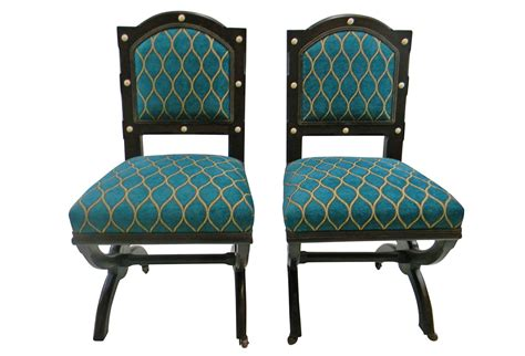 vintage peacock blue side chairs pair omero home