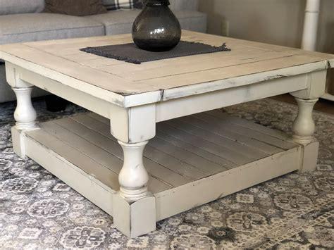 Square oak farmhouse coffee table. Chunky farmhouse coffee table, clean lines square - Lovemade14