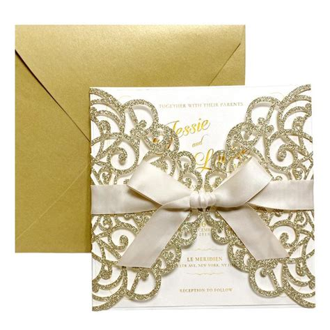 Laser Cut Wedding Invite Invitation Cards With Envelopes
