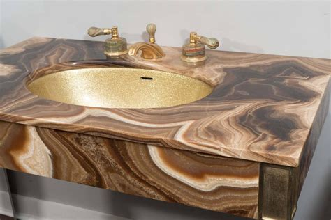 Sherle Wagner Vessel Sinks by Marble Vintage Bathroom Vanity With Gold Glitter