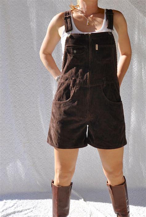 Brown Corduroy Overall Shorts Preppy 90s von ...