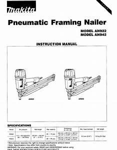 Makita Nail Gun An922 User Guide