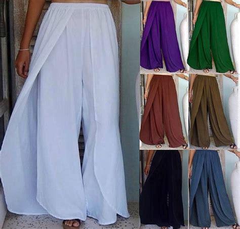 stunning layered faux wrap elastic waist pants