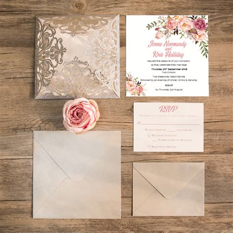 pearl square laser cut gatefold wedding invitation by