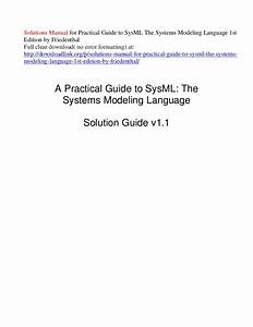 Solutions Manual For Practical Guide To Sys Ml The Systems