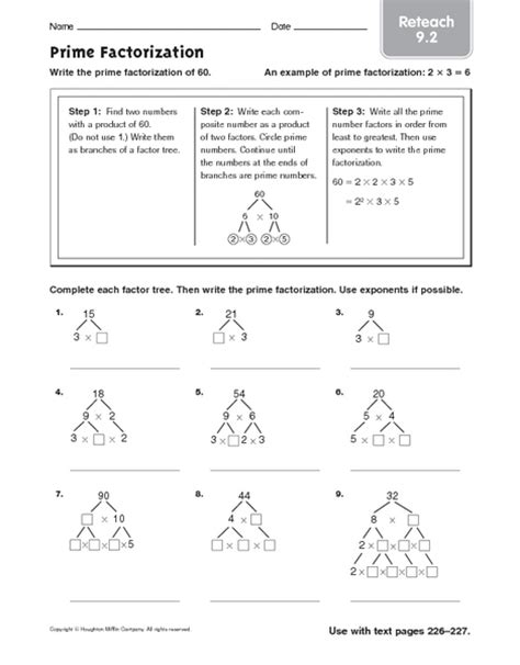 prime factorization with exponents worksheets worksheets