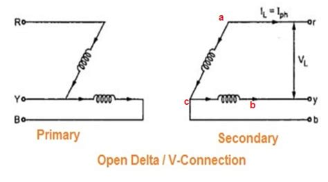 Wye Vt Wiring Diagram by Open Delta Or V Connection Of Transformer Electrical