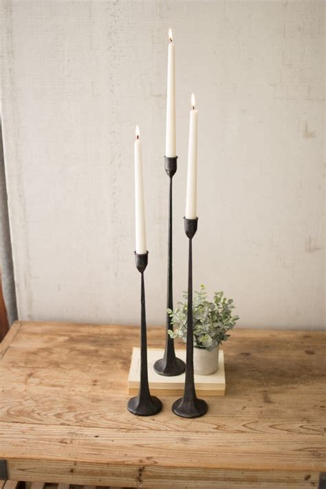 tall cast iron taper candle holders set   uhdecor