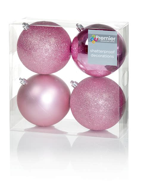 12 x extra large pale pink christmas tree baubles