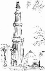 Sketch Coloring Gate Minar Qutub Template Map sketch template