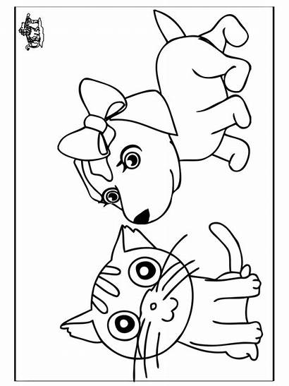 Coloring Dog Cat Cats Dogs Pages Cartoon