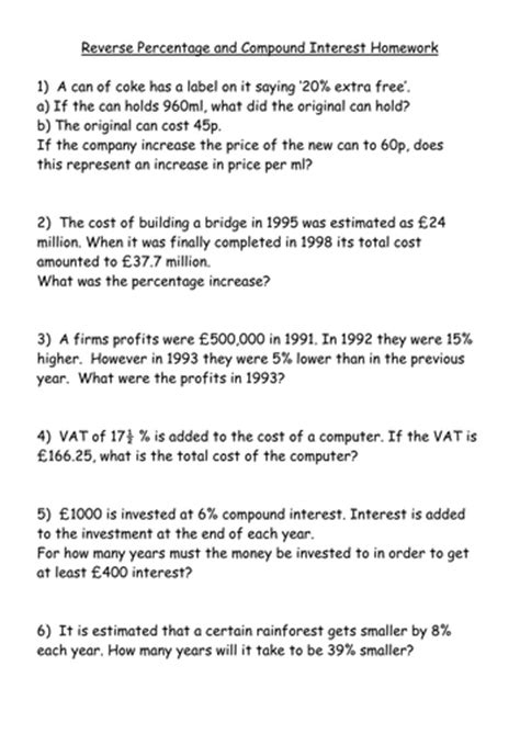 ks4 worksheet and compound interest by
