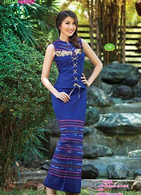 myanmar traditional dress  madam catalogue