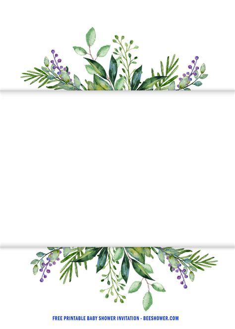 printable cute watercolor greenery invitation