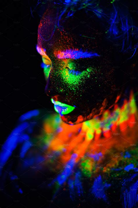 beautiful extraterrestrial model woman  neon light