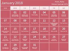 January 2018 hindu calendar with tithi for Posh Maha