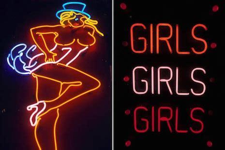 hot stuff glowing neon strip club  peep show signs