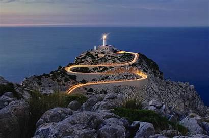 Spain Mallorca Lighthouse Sea Night Rocks Hill