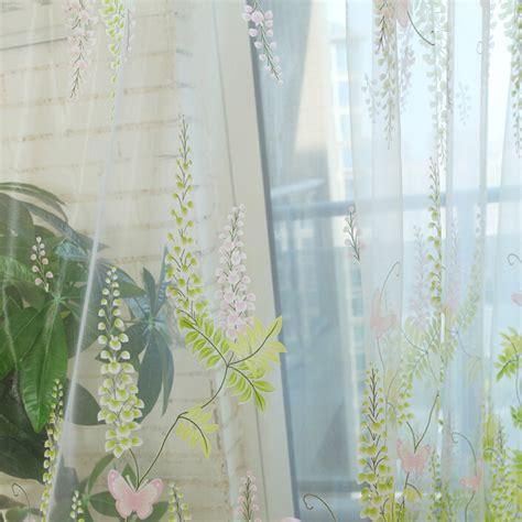 fabulous light green floral print yarn sheer curtains