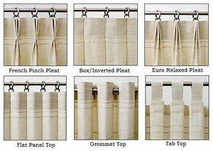 Drapery heading styles for custom panels style drapery for Types of pleat curtains