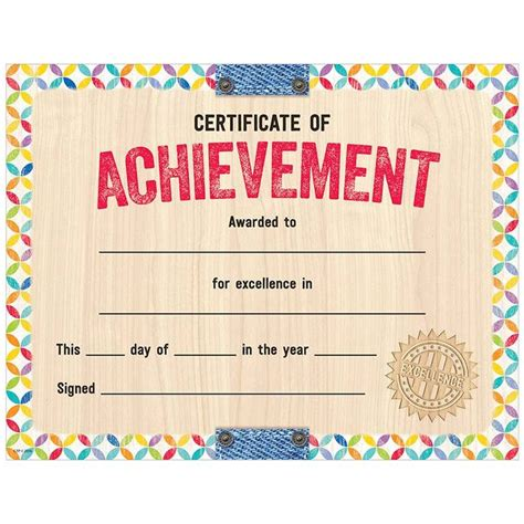 colorful  rustic  upcycle style certificate