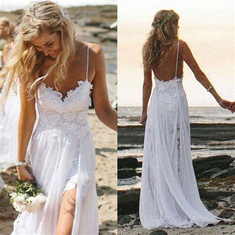 Spaghetti Strap White Chiffon Beach Wedding Dressessimple