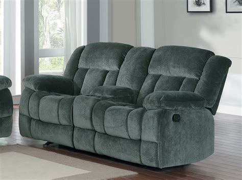 microfiber reclining sofa with console homelegance laurelton reclining sofa set charcoal