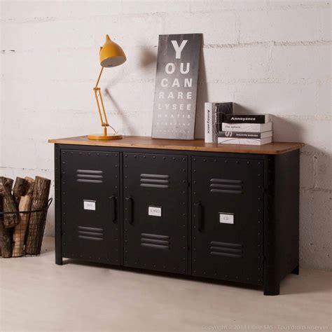 meuble bas cuisine 120 cm pas cher buffet bas 3 portes en métal noir et plateau bois l150cm
