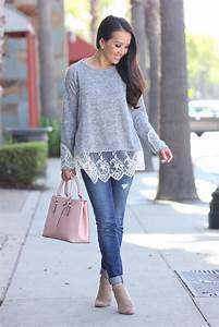 Casual weekend outfit Grey lace hem sweater distressed denim and pink tote | Stylish Petite