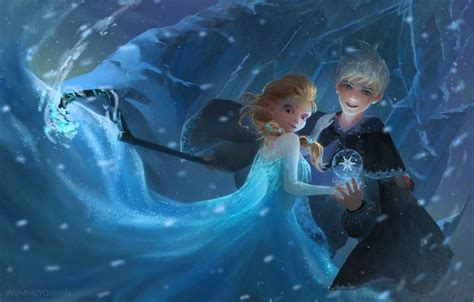 wallpaper girl snow art staff frozen guy rise
