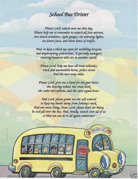 gifts for transport drivers school driver poem prayer personalized name print picture ebay