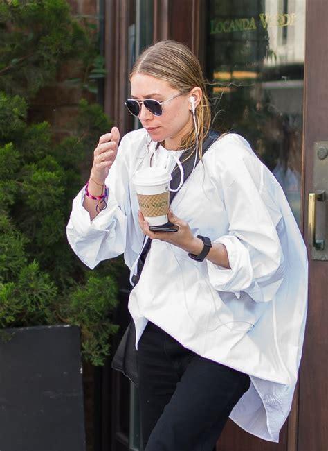 ashley olsen white oversize shirt popsugar fashion australia