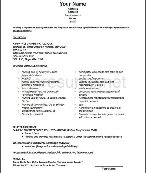 New Graduate Nursing Resume by New Grad Nursing Resume Professional New Grad Rn