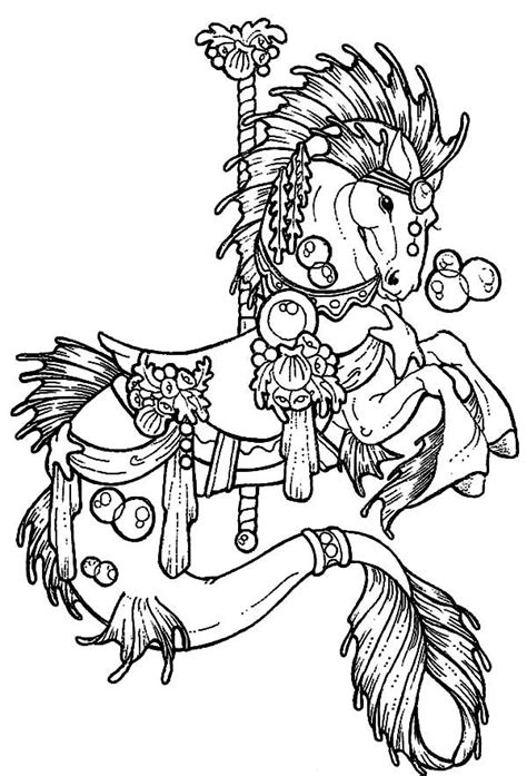 Carousel Horse Hippocampus Coloring Pages: Carousel Horse