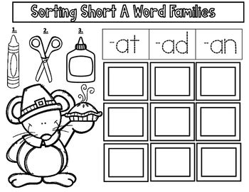 thanksgiving cvc cut and paste worksheets short vowel