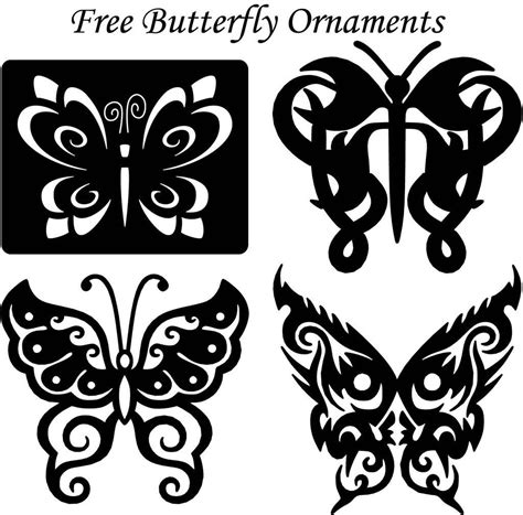 butterfly template ornaments wall decor  dxf file