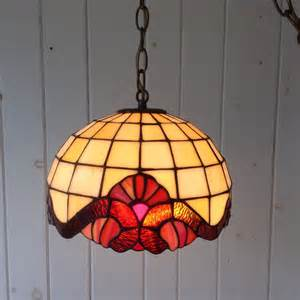 small vintage style stained glass hanging swag light