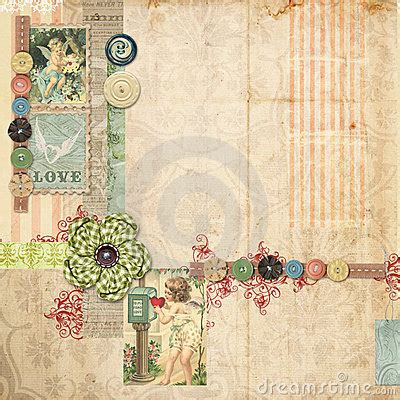 pink scrapbook layout  vintage embellishments stock