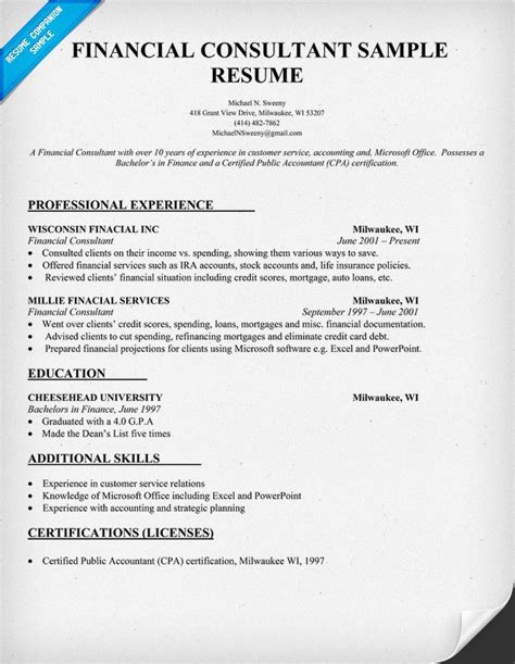 Consulting Firm Resume Exles by Financial Consultant Resume Sle Resume Sles Across All Indust