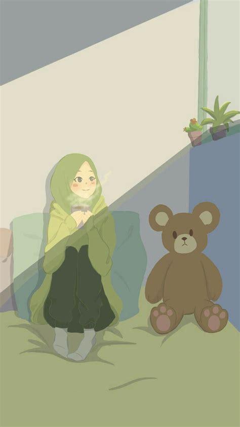 pin oleh rahma deswitia  gadis hijab animasi   kartun seni islamis animasi
