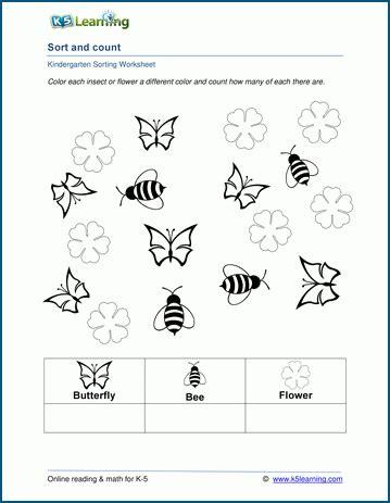Sort And Count Worksheets For Preschool And Kindergarten  K5 Learning