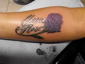 3D Purple Rose Tattoo On Hand By Megan Massacre