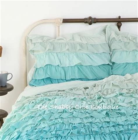teal shabby chic bedding shabby beach cottage chic green teal queen ruffles duvet doona quilt cover new ebay