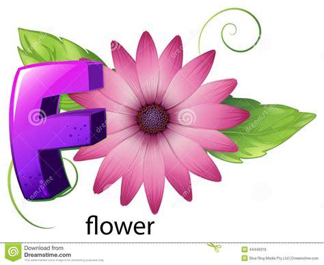 A Letter F For Flower Stock Vector. Illustration Of