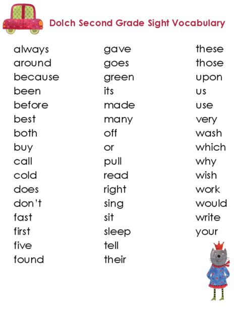 second grade dolch vocabulary kidspressmagazine