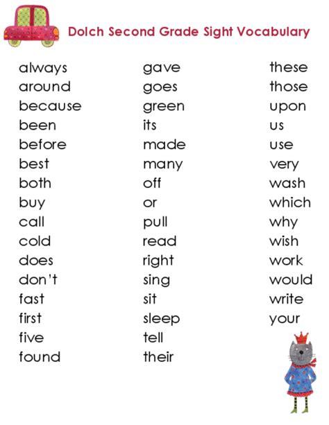 Second Grade Dolch Vocabulary Kidspressmagazinecom