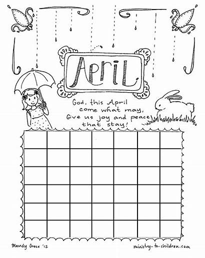 Calendar April Coloring Children Pages Sheet Church