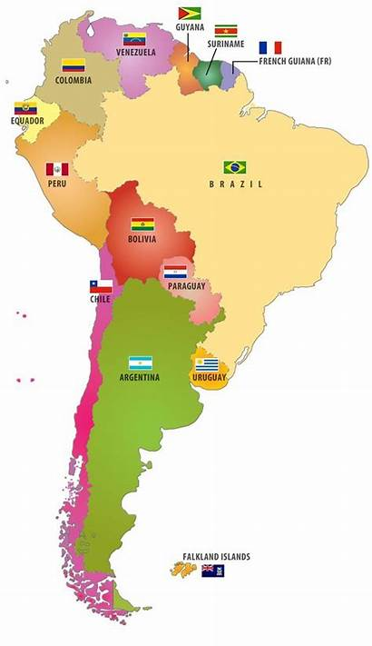 South America Countries American Map Flags Flag