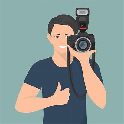 Illustration Photographer Flat Camera Vector Professional Vectors