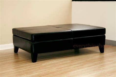 black leather ottoman coffee table black leather rectangle deep wide storage ottoman bench